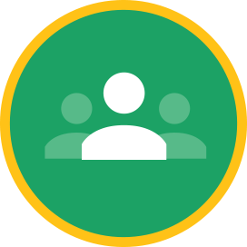 Green round button with silhouettes of three people