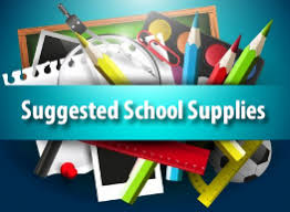 Suggested School Supplies title with supplies in a stack